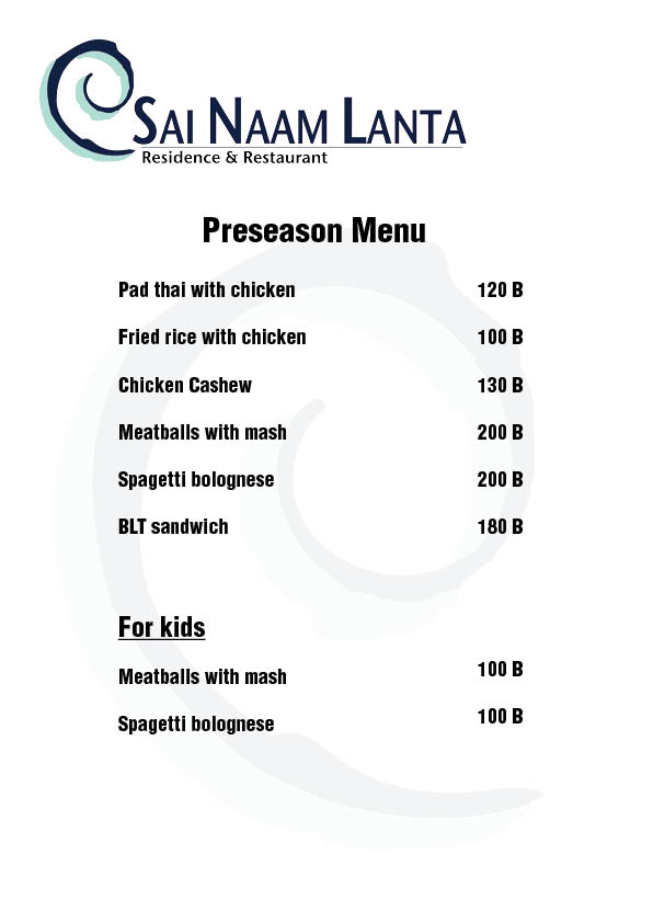 Pree season menu