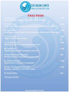 menú de restaurante comida tailandesa